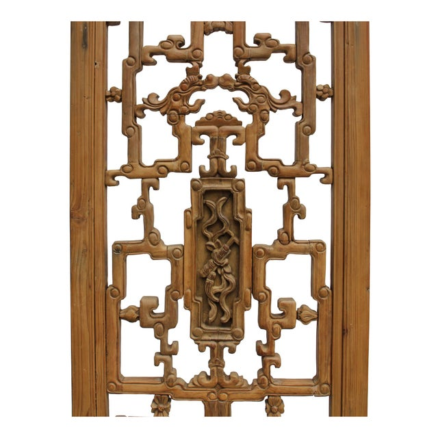 Brown Chinese Vintage Light Brown Relief Motif Wood Wall Hanging Art For Sale - Image 8 of 10
