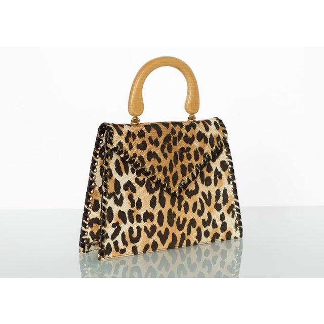Yves Saint Laurent Leopard Animal Print Canvas Wooden Top Handle Bag, 1990s For Sale - Image 10 of 10