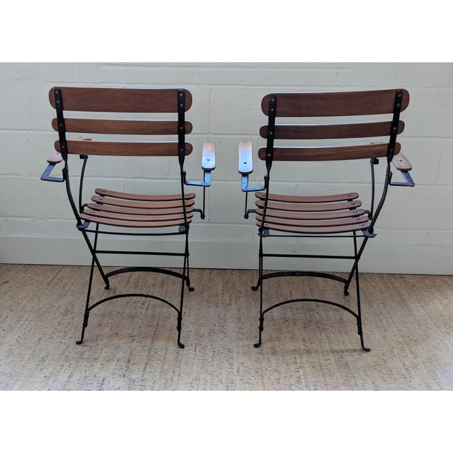 French Country Antique Iron & Teak Garden Chairs – a Pair For Sale - Image 4 of 12