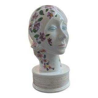 Italian Glazed Ceramic Bust For Sale