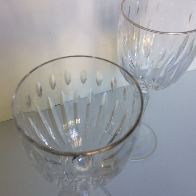 Cut Crystal Gold Rim Wine Glasses - a Pair For Sale - Image 10 of 13