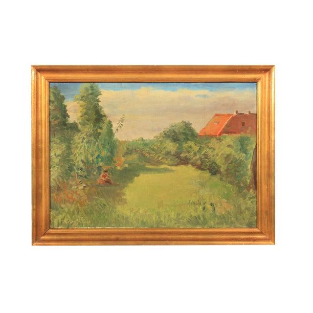 1953 Hjalmar Kragh-Pedersen Expressionist Pastoral Landscape For Sale