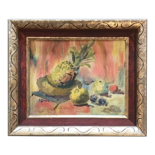 Vintage Original Still Life Painting Fruits Signed For Sale
