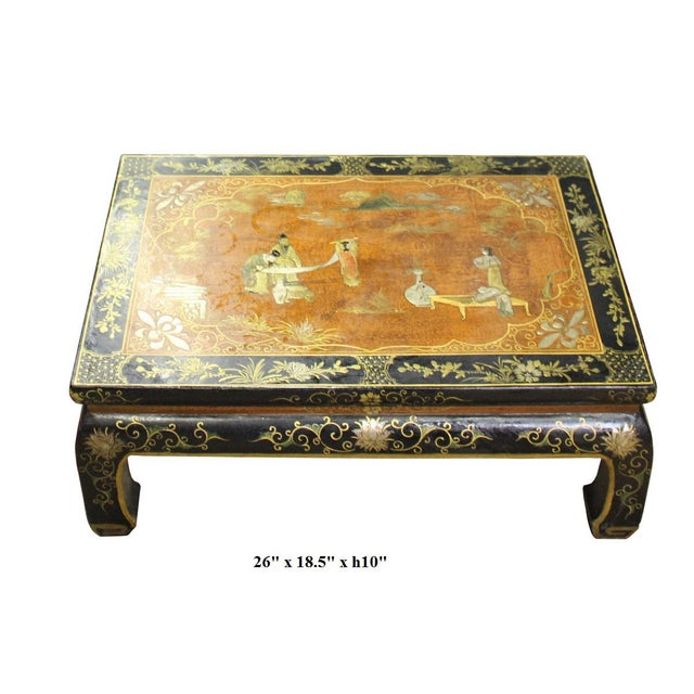 Wood Chinese Brown Black Lacquer Scenery Kang Table Stand For Sale - Image 7 of 7