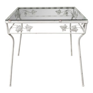 Vintage Wrought Iron Square Outdoor Patio Side Table