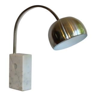Mini Castiglioni Arco Table Lamp With Marble Base and Aluminum Shade For Sale