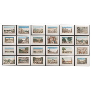 Suite of Twenty-Two French 18th-Century Hand-Colored Vue d'Optique Etchings For Sale