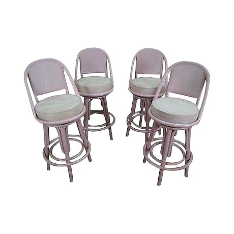 Clark Casuals Vintage Set of 4 Painted Rattan Bar Stools For Sale