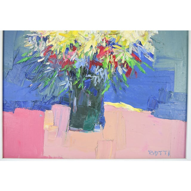Abstract Italo Botti Mid-Century Modern Floral Still Life Oil Painting For Sale - Image 3 of 9