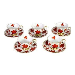 1950's Royal Chelsea English Fine Bone Porcelain China Maple Leaf Tea Cups & Saucers - Set of 5 For Sale
