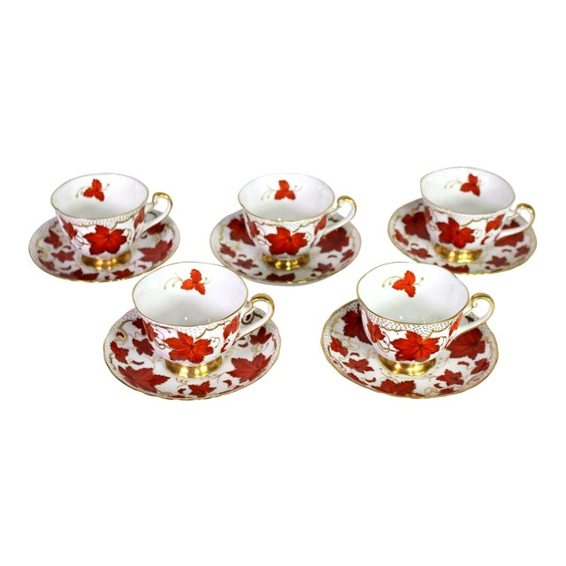 1950's Royal Chelsea English Fine Bone Porcelain China Maple Leaf Tea Cups & Saucers - Set of 5 For Sale