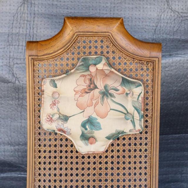 Tan 1920s Folk Art Blonde Cane Back Floral Print Armchair For Sale - Image 8 of 11