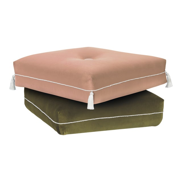 Two-Tone Turkish Ottoman, Pink & Olive For Sale