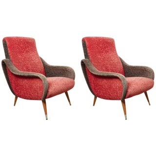 Set of Italian 1950s Red and Grey Ladies Lounge Chairs in the Style of Zanuso For Sale