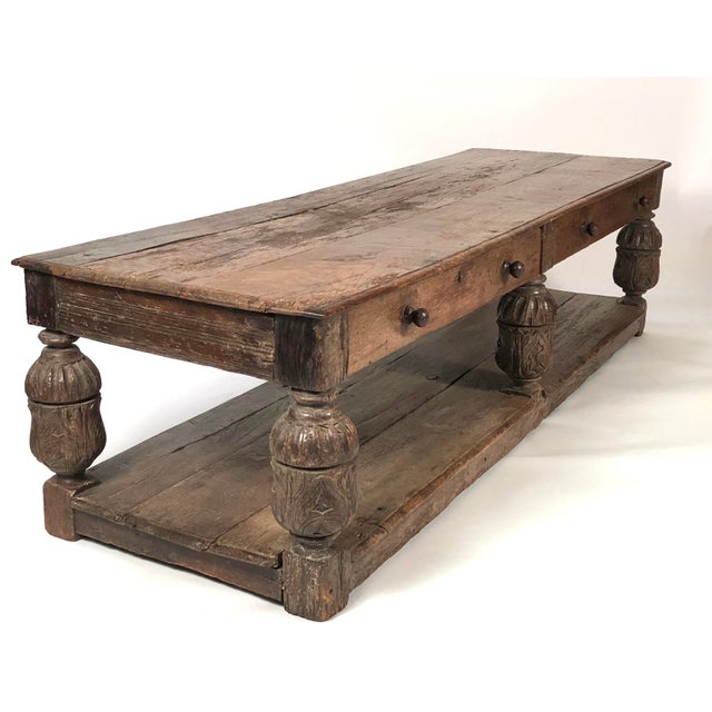 A Large Old English Oak Jacobean Style Coffee Or Low Table From The 19th