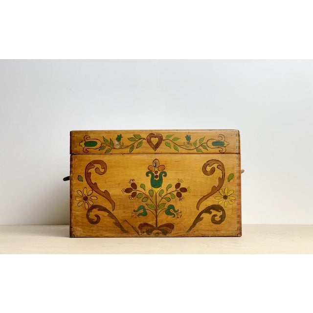 Small Hand Painted Folk Art Wooden Trunk For Sale - Image 11 of 11