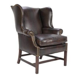 Early 19th Century George III Mahogany Wing Chair For Sale