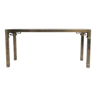 1970's Modern Mastercraft Brass & Glass Console Table For Sale