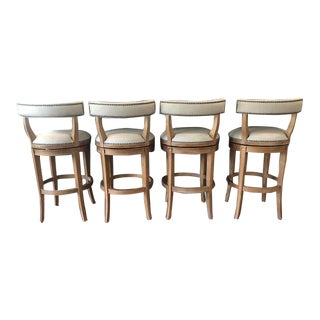 Wood Frame Bar Stools - Set of 4 For Sale