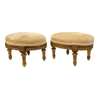 Louis XVI Style Giltwood Foot Stools - A Pair For Sale