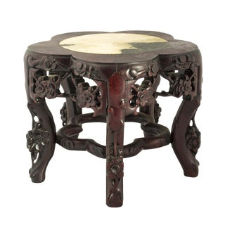 19th Century Chinese Marble Top Carved Rosewood Stand or Table For Sale
