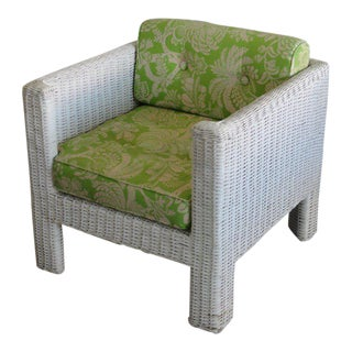 Palm Beach Modern Wicker Lounge Chair For Sale