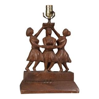 1940s Vintage Folk Art Three Graces Lamp For Sale