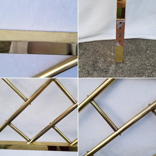 1970s Vintage Chinoiserie Brass California King Headboard For Sale - Image 5 of 6