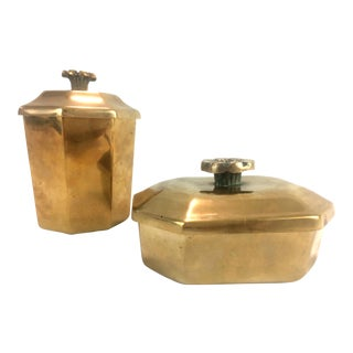 19th Century Victorian Heavy Brass Tobacco Canisters - 2 Pieces