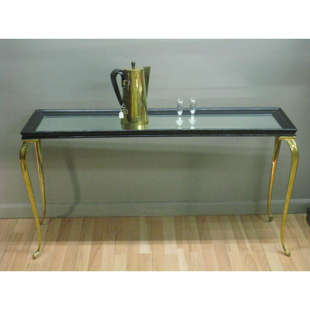 Brandt Solid Brass and Black Mirrored Console - Image 9 of 11