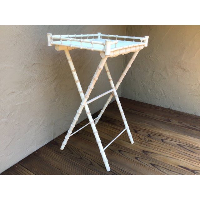 Boho Chic Faux Bamboo Bar Stand For Sale - Image 3 of 6