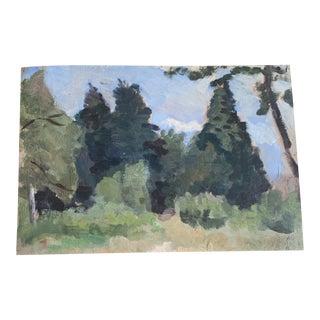 1920s Antique Oil Landscape of Trees For Sale