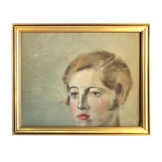 Mid-Century Female Portrait Pastel Painting For Sale