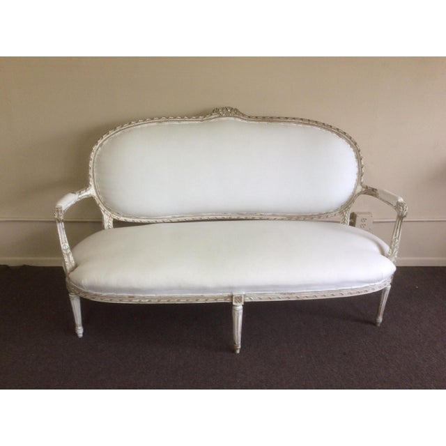 Antique French Settee With Worn White Painted Finish For Sale - Image 9 of 12