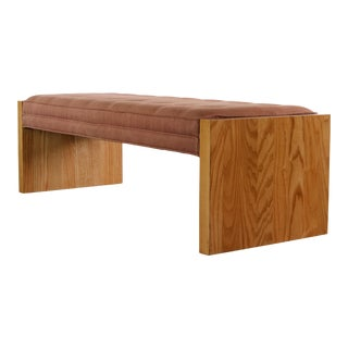 Late 20th Century Oak Bench Upholstered in Oldrose Woolen Fabric, USA For Sale