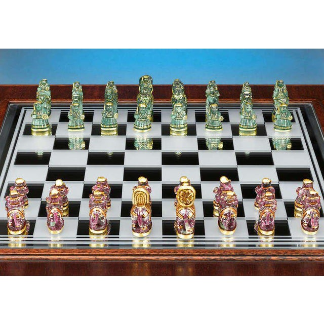 Contemporary Indian Emerald and Ruby Chess Set For Sale - Image 3 of 6