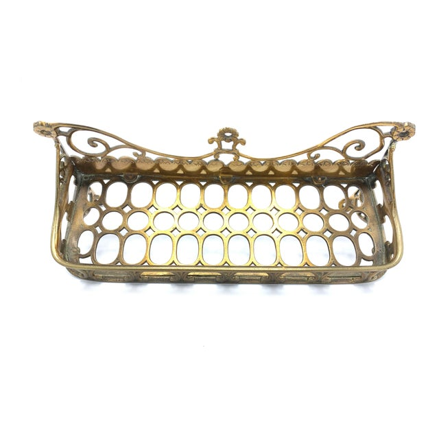 Antique Victorian Ornate Solid Brass Bathroom Wall Mounting Soap Dish For Sale - Image 4 of 5