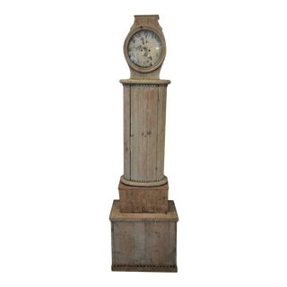 18th Century Gustavian Swedish Columnar Tall Case Clock For Sale