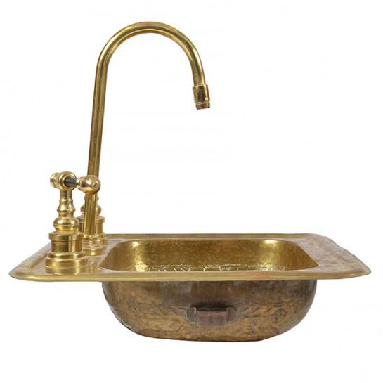 Gold 1920s Art Deco Brass Sink For Sale - Image 8 of 12