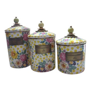 Mackenzie Childs Yellow and Pink Floral Buttercup Enamel Canisters - Set of 3 For Sale