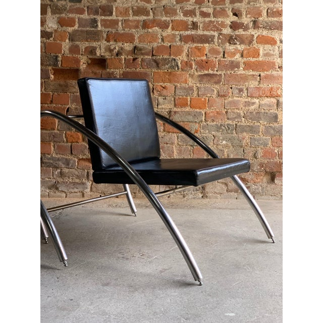 Moreno Chrome & Leather Lounge Chairs by Francois Scali & Alain Domingo for Nemo - A Pair For Sale - Image 11 of 12