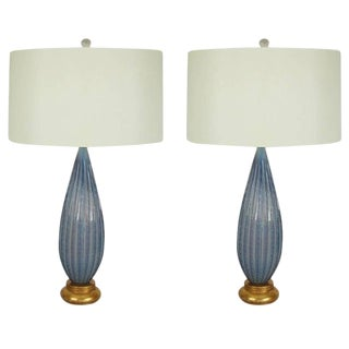 Vintage Murano Opaline Glass Table Lamps Lavender