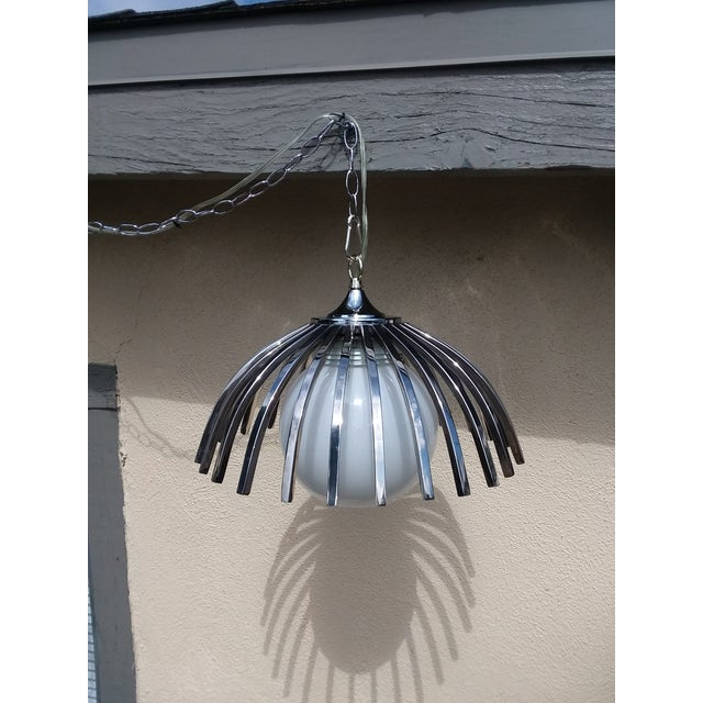 Custom Mid-Century Pendant Available With Large Globe (As Seen or Smaller Globe For Sale In San Diego - Image 6 of 9