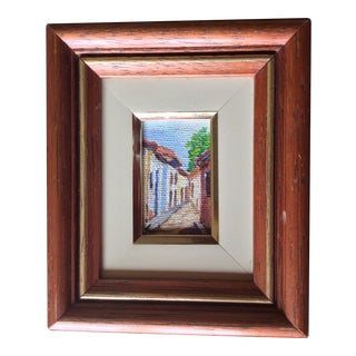"""1950s Vintage Miniture """"Painting in Little"""" Italian Style Street Painting For Sale"""