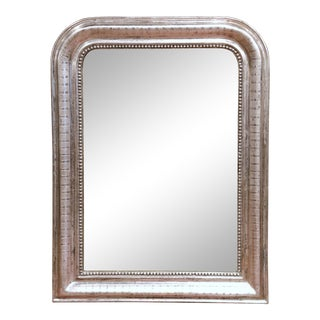 19th Century French Louis Philippe Silver Mirror With Engraved Stripe Decor For Sale