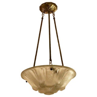 French Art Deco Pendant Chandelier Signed by Muller Frères Luneville For Sale