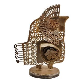 1960s Metal Stylized Bird Sculpture in the Style of Fantoni/Jere For Sale