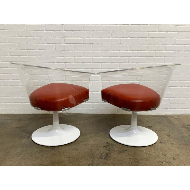 Mid 20th Century Lucite and Leather Space Age Chairs For Sale - Image 5 of 12