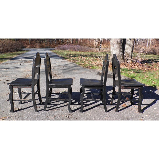 Wood Vintage Set of 4 Art Deco Black Painted Amish Folk Art Style Dining Chairs For Sale - Image 7 of 12