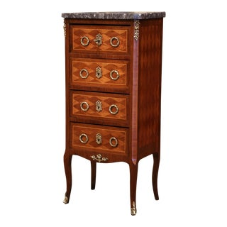 Early 20th Century French Louis XV Walnut Four-Drawer Chest With Marble Top For Sale